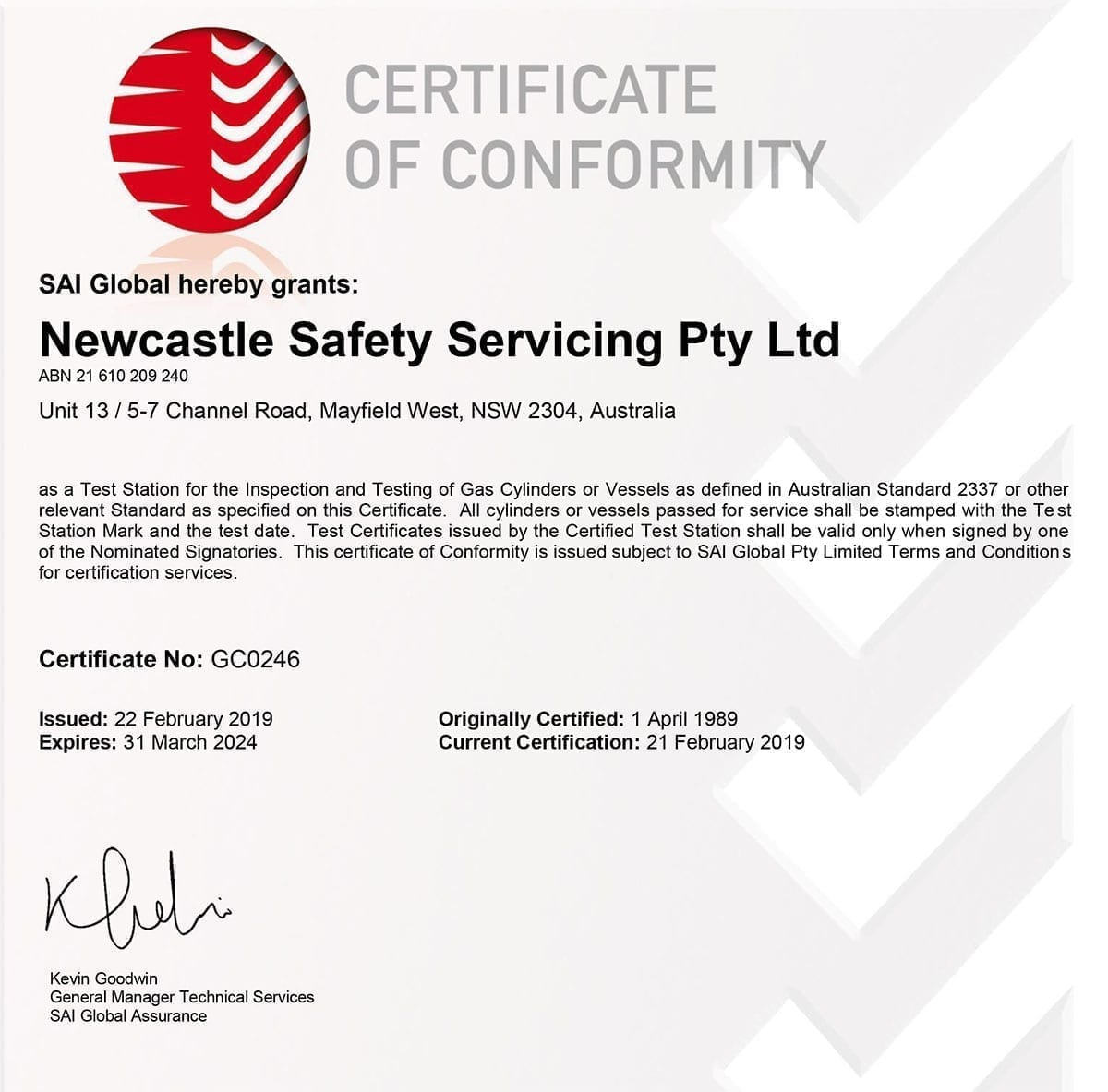 Certificate GC0246 20190222-1